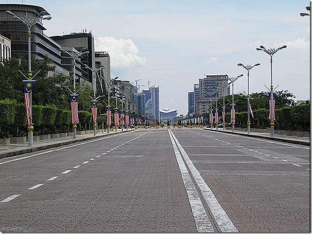 Putrajaya's roads are quiet during weekends.