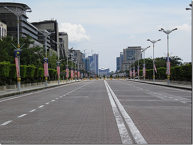 Putrajaya's roads are quiet during weekends.