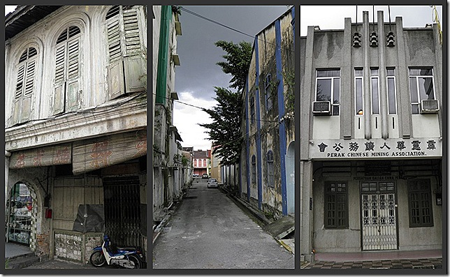 Shophouses in need of repair. Art Deco building.