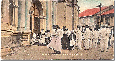 Old postcard showing worshippers in their Sunday best.