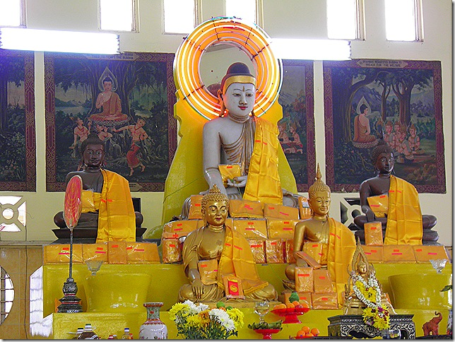 The main altar at the Buddha Jayanti Temple.