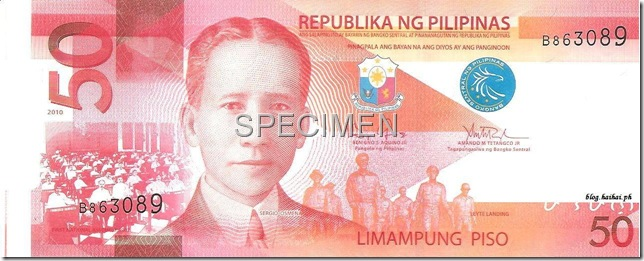 The new Peso50 bill - that's General McArthur in the background.