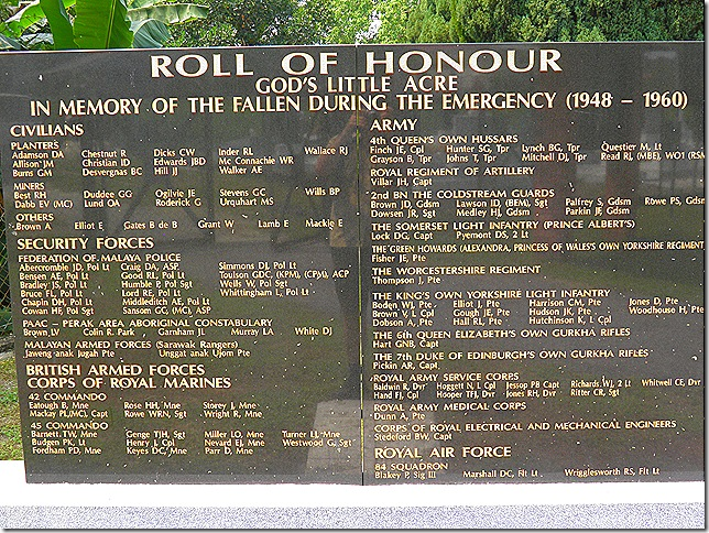 Roll of Honour, Batu Gajah