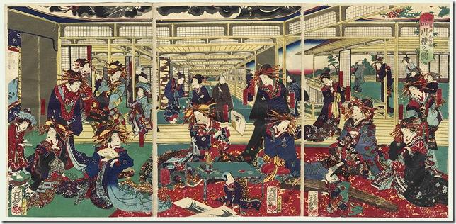 Original Yoshiiku (1833 - 1904) Japanese Woodblock Print Courtesans at Leisure