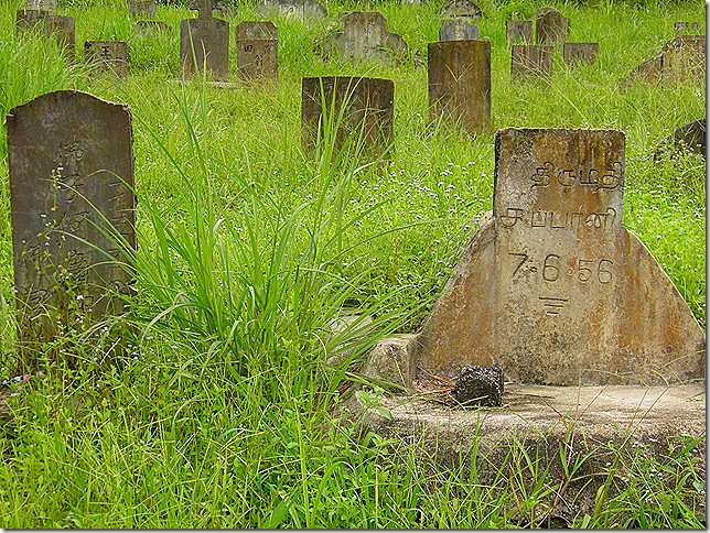 Indian and Chinese graves at Sungai Buloh