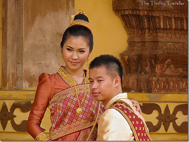 Wat Sisaket as a backdrop for wedding photos for this young couple.