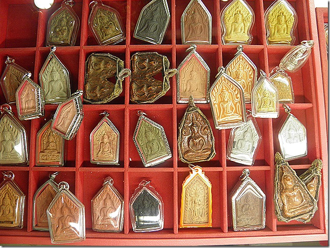 Amulets in Amulet Central, the gift shop at Wat Chetawan