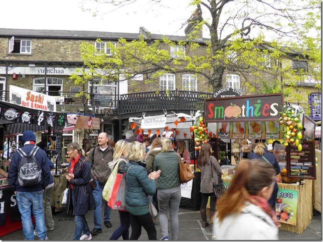 Some of the food stalls at Camden Lock Market.