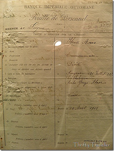 Staff record, Ottoman Bank