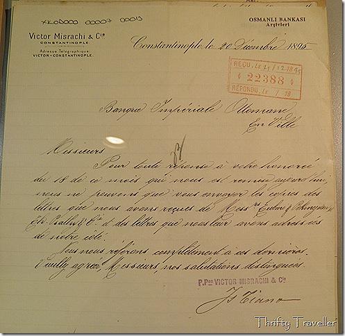 Correspondence at Ottoman Bank Museum