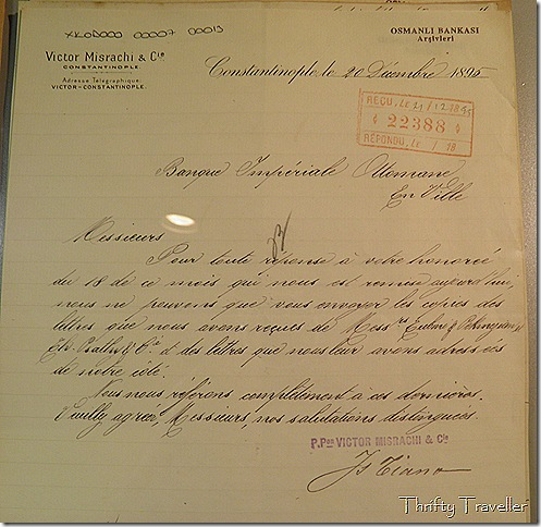 Correspondence at Ottoman Bank Museum