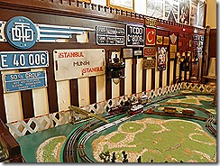 Model railway, numberplates and signs at Sirkeci Railway Museum
