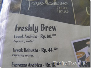 Luwak Coffee prices, Padang