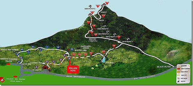 Trail map Mt. Santubong