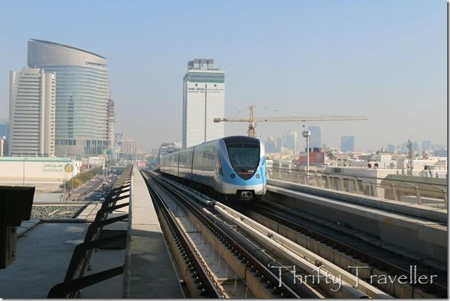 Dubai Metro train approaching Karama station.