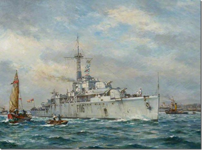 HMS 'Amethyst' Arriving at Hong Kong, 3 August 1949 from BBC website