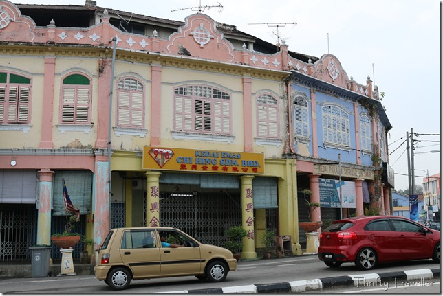 Pink and blue shophouses in Masjid Tanah