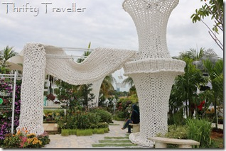 Installation made from plastic bag material