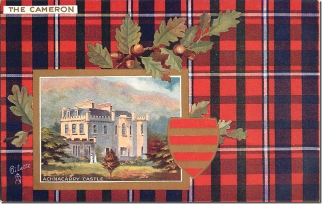 The Cameron Scottish Clan Oilette Postcard, 1906