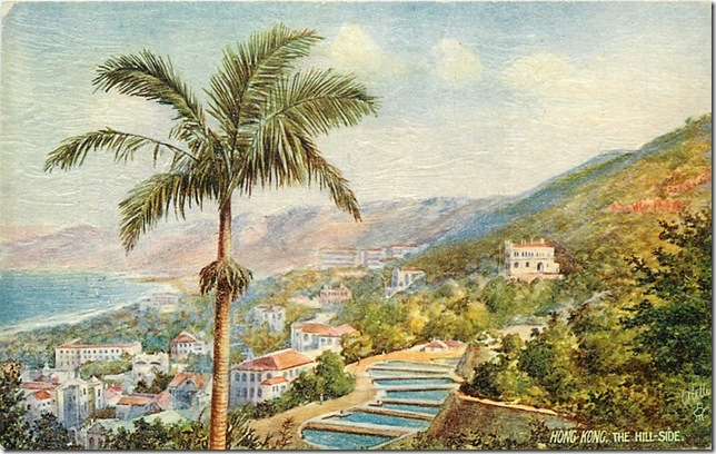 Hong Kong, The Hill Side oilette postcard