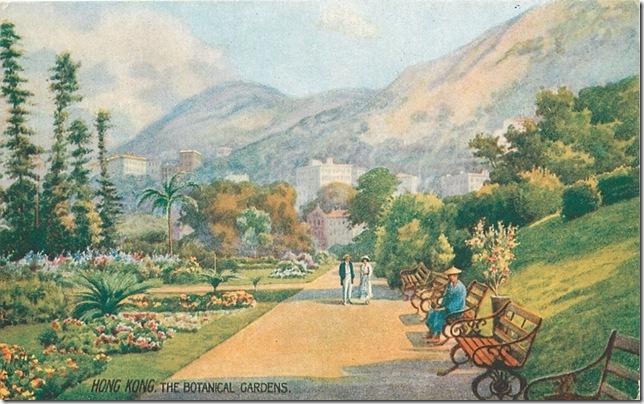 Hong Kong, The Botanical Gardens oilette postcard