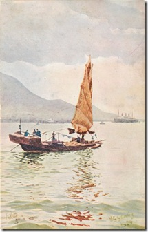 Hong Kong, Junk oilette postcard