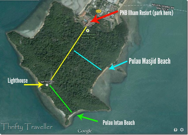 Map showing location of Pulau Masjid, Cape Rachado
