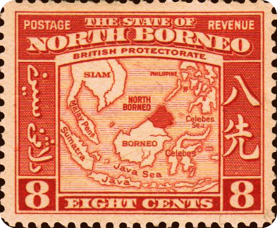 Stamp Showing Location Of British North Borneo