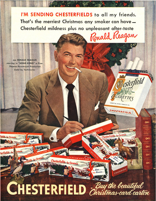 Ronald Reagan Endorsing Chesterfield Cigarettes
