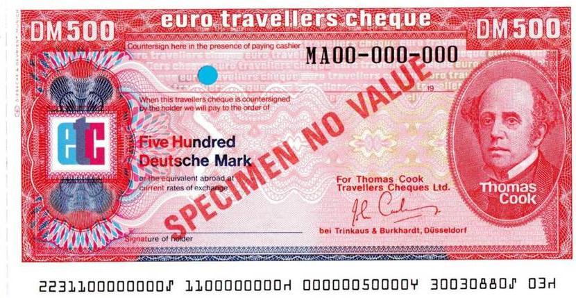 Thomas Cook Deutsche Mark Travellers Cheques