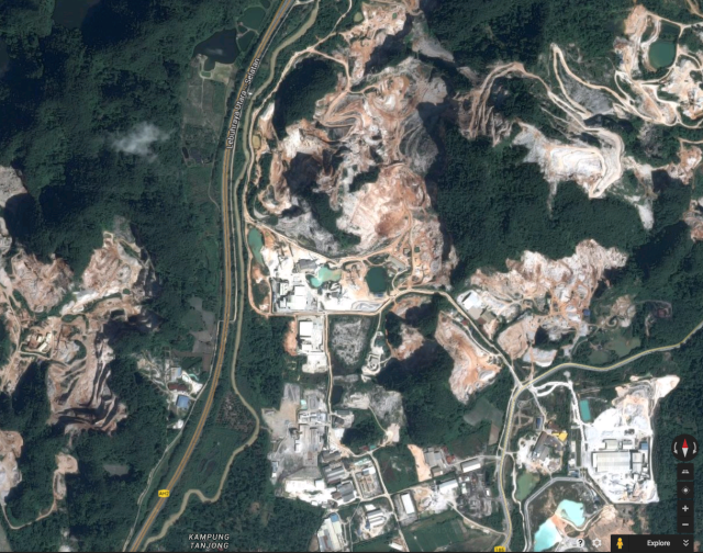 Google image showing quarrying activity at Simpang Pulai