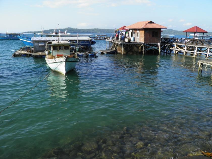 View of fishing boats at Kudat Esplanade