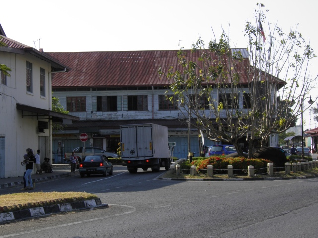 Old wooden shophouses in Kudat Town