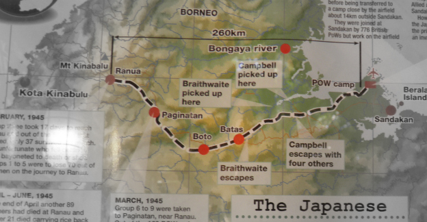 Map on display at Kundasang War Memorial showing the route of the infamous Sandakan Death March