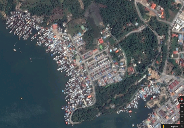 Aerial view of one of Sabah's many water villages, many of which are home to undocumented migrants.