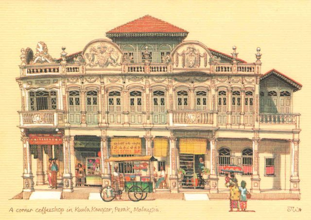 Postcard of a 'Kuala Kangsar' coffee shop but is actually in Taiping.