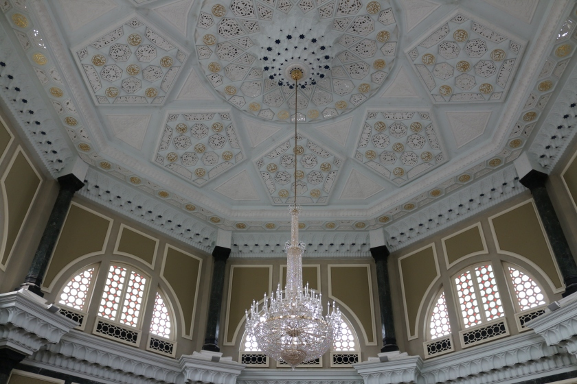 Intricately decorated ceiling of Ubudiah Mosque