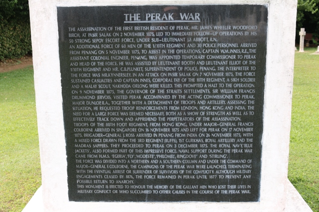 Inscription on the memorial at Bukit Chandan cemetery