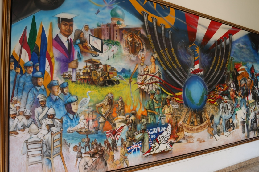 This painting on one of the interior walls shows events in Malaysia's history.