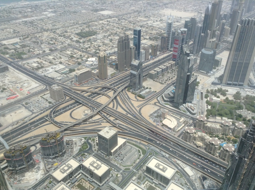 The tall towers on Shaikh Zayed Road look small from this height.