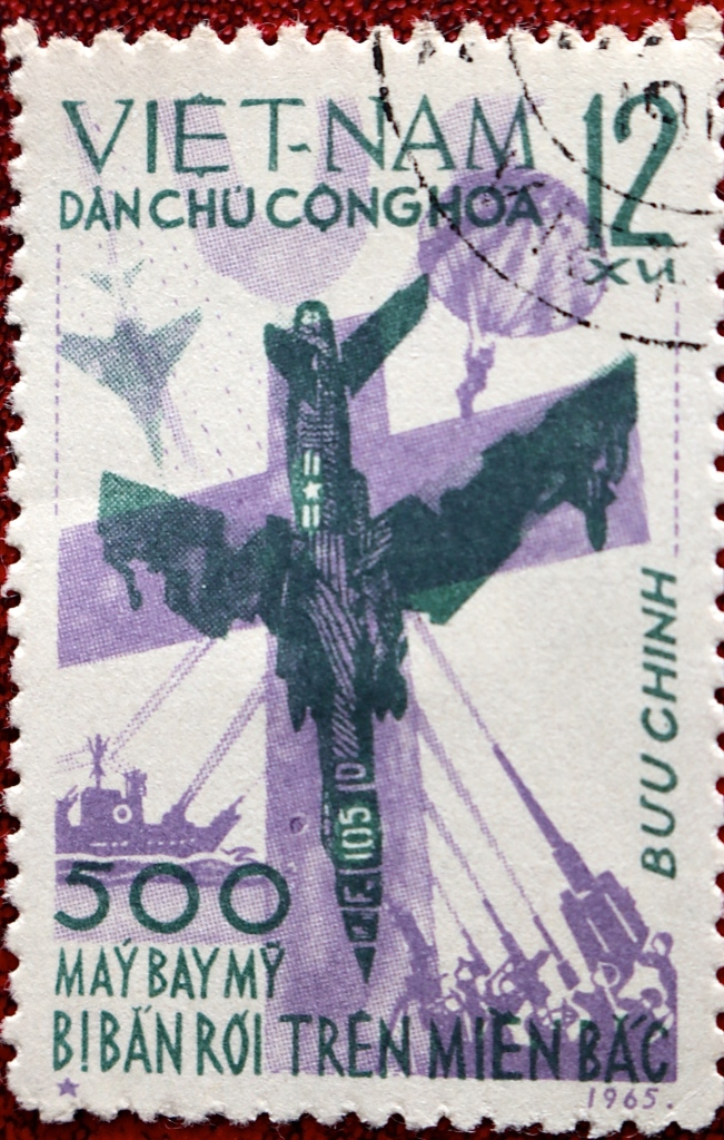 This first stamp, issued in 1965, claimed 500 US Aircraft Shot Down Over North Vietnam.