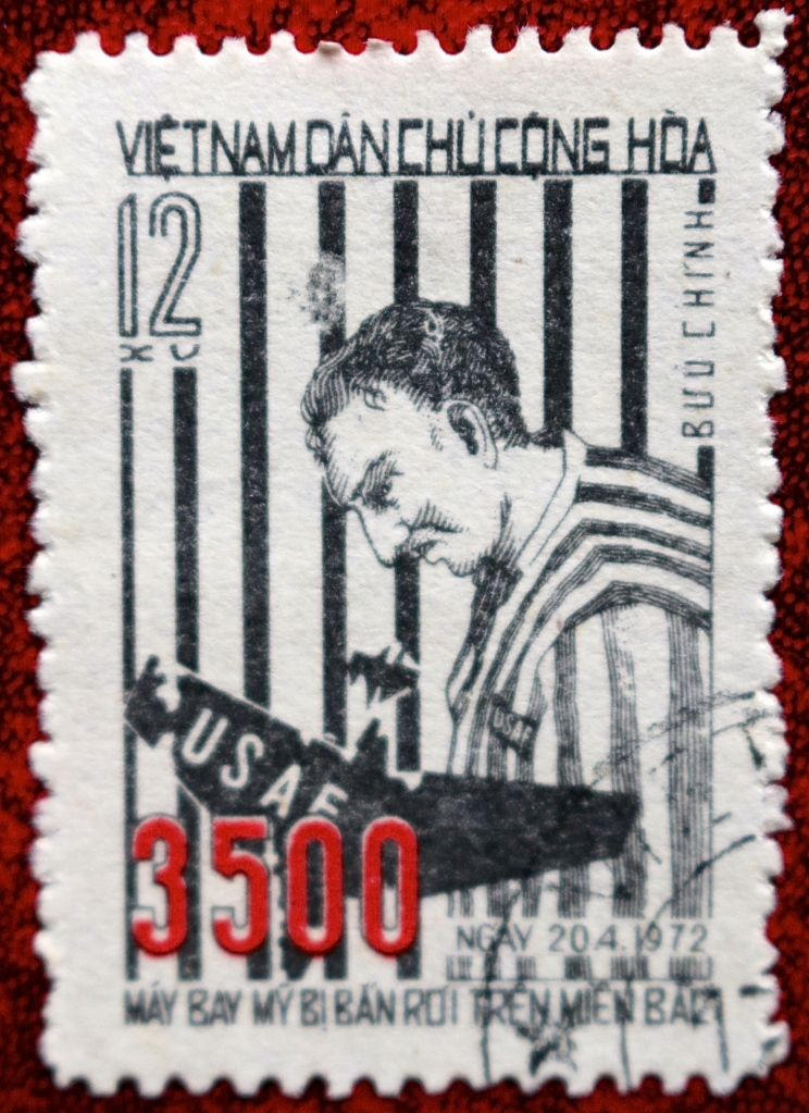 This stamp dated April 1972 brings the total up to 3500 and portrays a US airman in captivity.