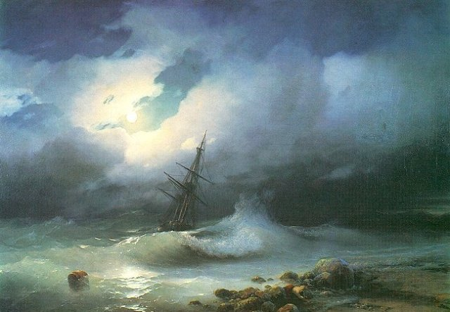 This fine painting by late 19th century Armenian-Russian painter Ivan Konstantinovich Aivazovsky is not of the Diana but gives an idea of the conditions at sea.