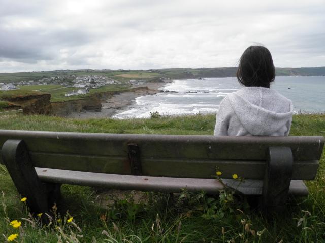 Contemplating at Widemouth Bay.