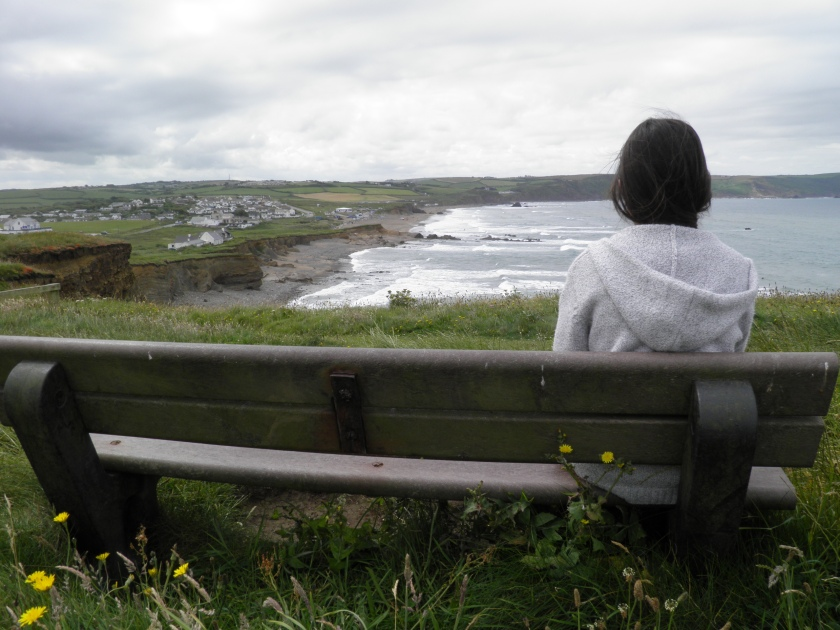 Contemplating at Widemouth Bay.