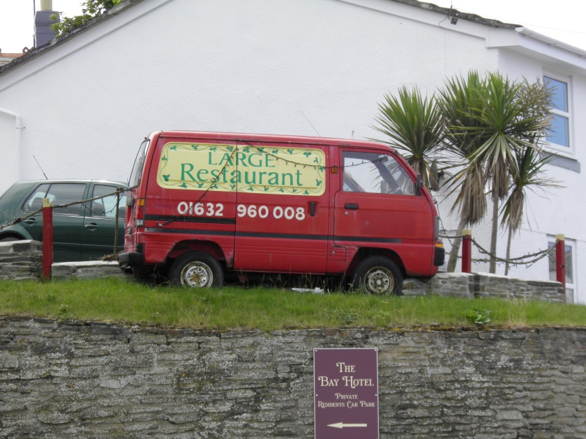 A prop from the Doc Martin TV series advertising Large's Restaurant in Port Wenn.