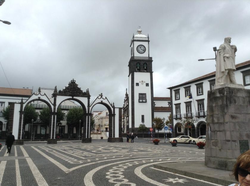 One of the main squares in Ponta Delgada featuring Igreja Matriz de São Sebastião and the City Gates.