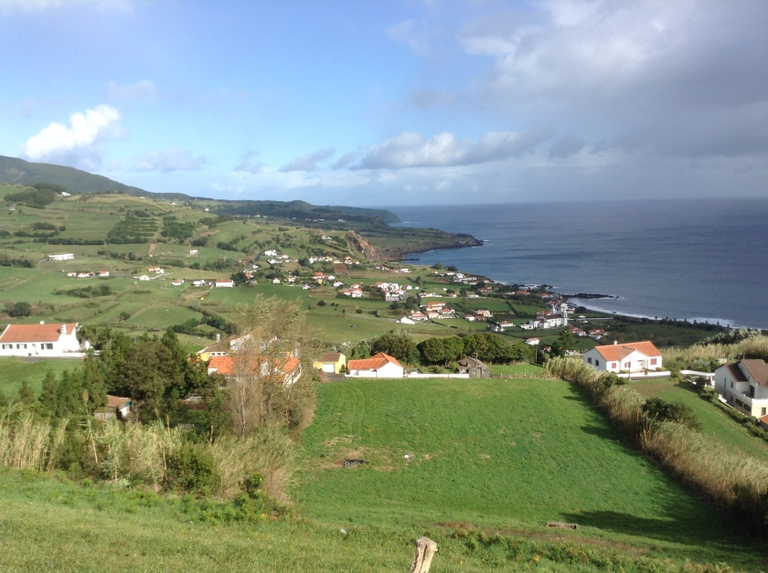 View of eastern Faial ovelooking the beach of Praia do Almoxarife and Pedro Miguel parish in the distance.