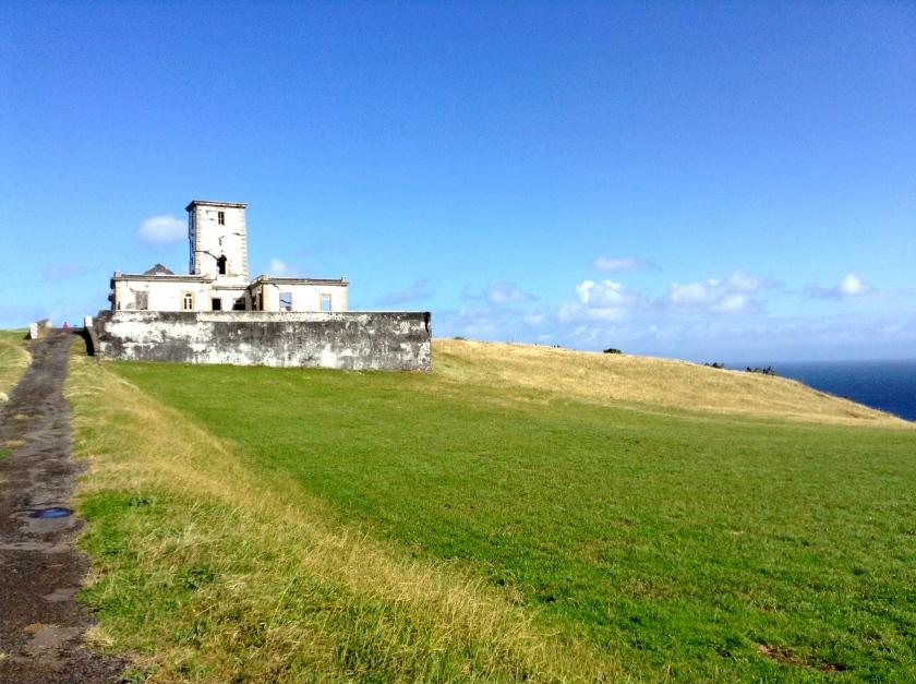 Ponta da Ribeirinha Lighthouse, destroyed in an earthquake in 1998.