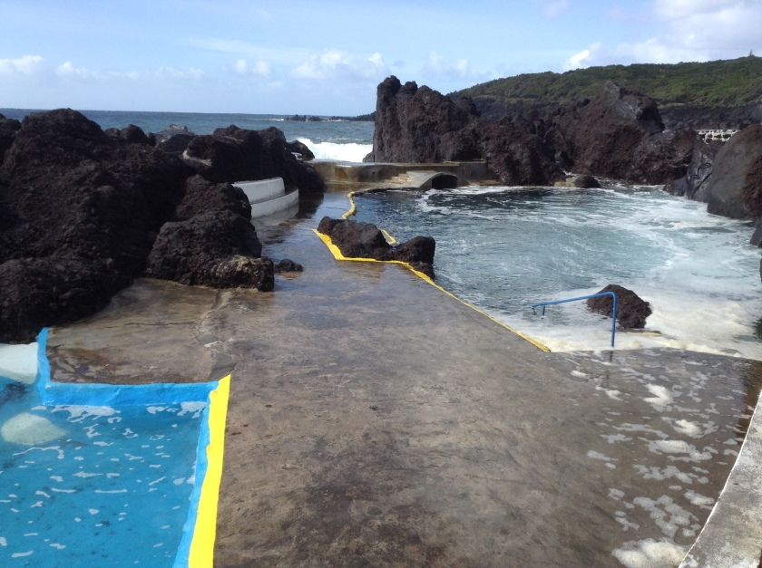 Natural (apart from the concrete) bathing pool at Varadouro. Even in November the sea temperature is quite mild but rough seas can make some of these pools unsafe.
